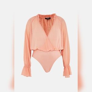 Orange Ruffle Sleeve Bodysuit NWT